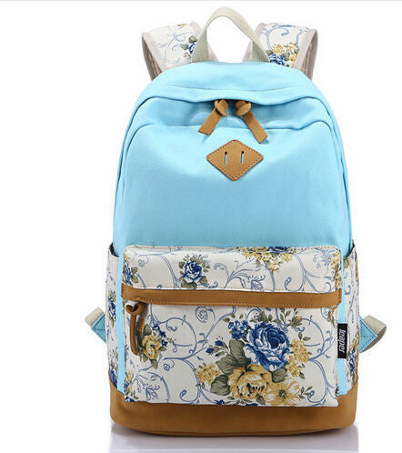 Canvas Match Nubuck Leather Satchel Rucksack Backpacks School Bags for