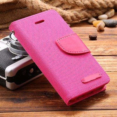 For iPhone 5S SE Stand Wallet Case Fashion Ultra Flip Cloth Leather Case For iPhone 5 5S SE 6 6S Plus 7 Plus Hit Color Cover Bag