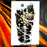 Robot Machine Arm Temporary Body Art Flash Tattoo Stickers, 12*20cm Waterproof Tatto Henna Tatoo Summer Style Adult Sex Products