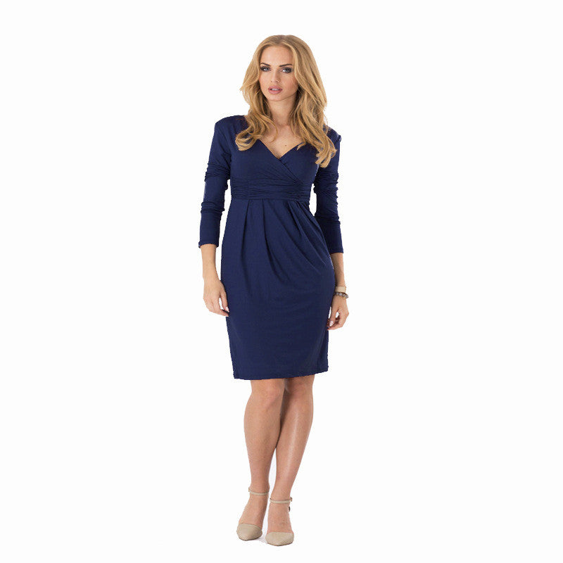 Big Size Ladies Office Work Dress Elegant V-neck Long Sleeve Pleated