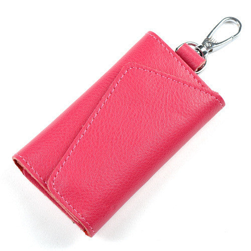Key Holder Wallet 100% Genuine Leather Unisex Solid Key Wallet