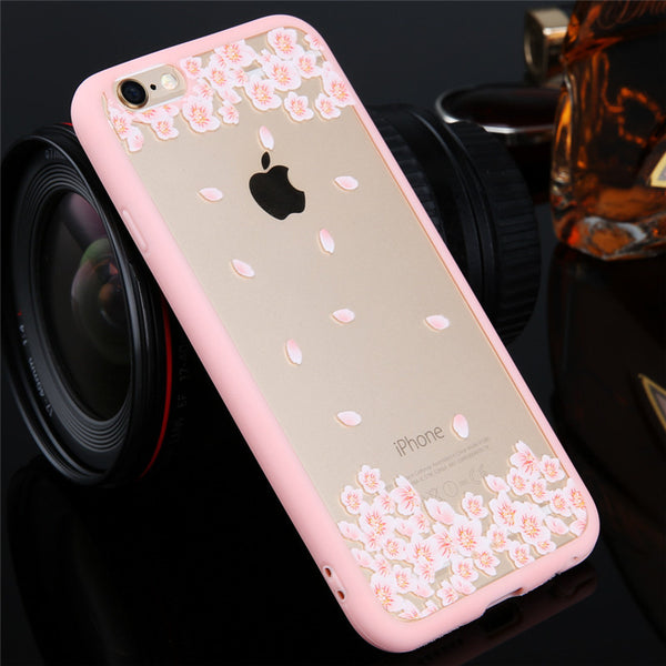 Top Quality Cartoon Cat/Cherry Tree Pattern Phone Case For iphone4 4s 5 5S 5C 6 6S SE Hard Transparent Flowers Series Back Cover