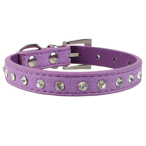 Clear Rhinestones Diamante Soft Suede Leather Dog Puppy Cat Collars