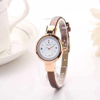 luxury brand watch women fashion gold watch quartz clock girl slim