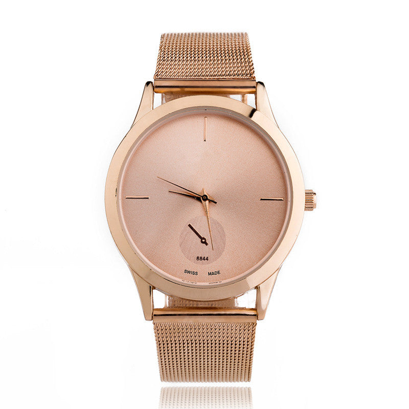 New Luxury Women Watches Ultra Thin Steel Net Belt Men and Women