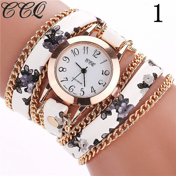 CCQ Flower Leather Bracelet Watches Fashion Women Dress Watches Quartz