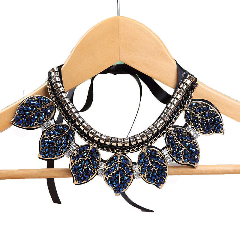 Blue Crystal Leaves Statement Necklace Women Collar Necklaces &