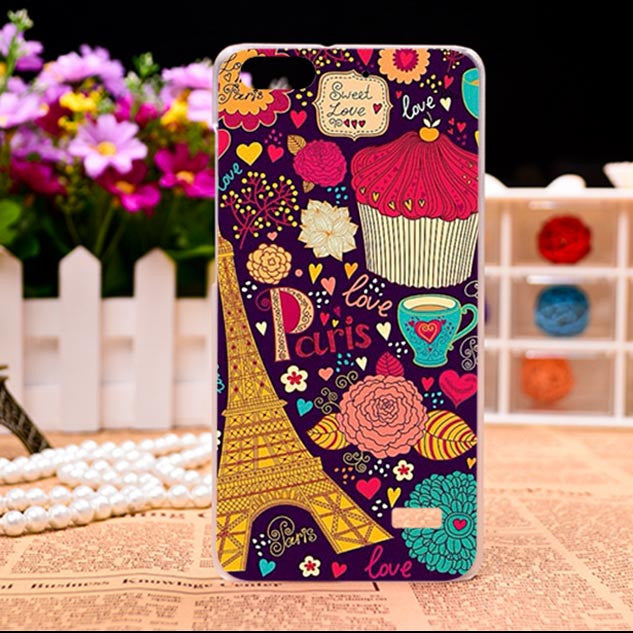 Soft TPU Hard plastic Flower Phone Cases For Huawei Honor 4C C8818 5.0