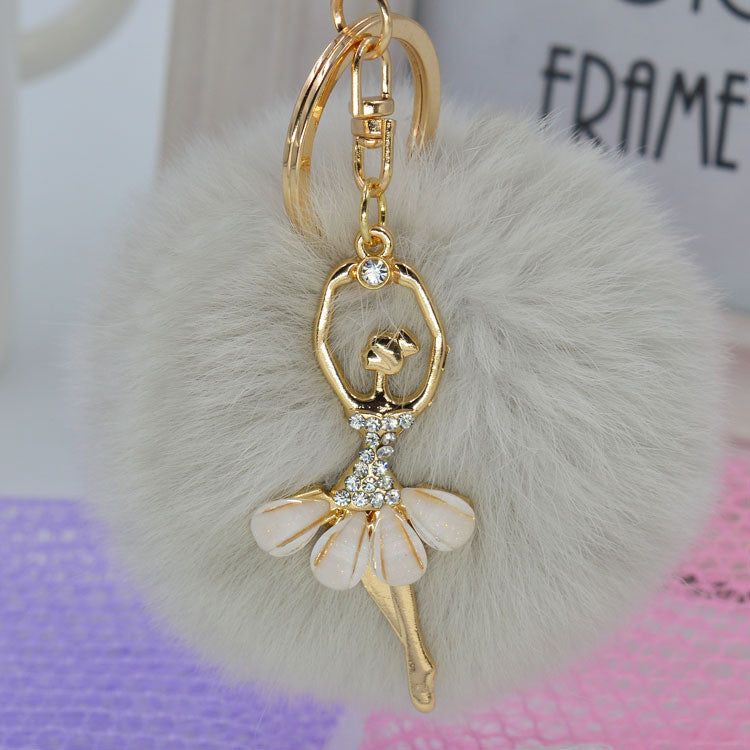 Fashion Women Cony Hair Dancing Angel Rhinestone Ball Pom Pom Charm