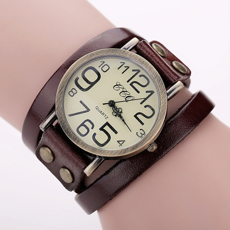 CCQ Brand Hot Antique Leather Bracelet Watch Vintage Women Wrist Watch