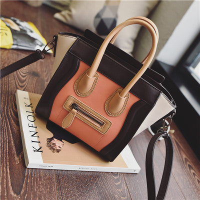 Bolsos Mujer 2016 Trapeze Smiley Tote Bag Luxury Brand Pu Leather