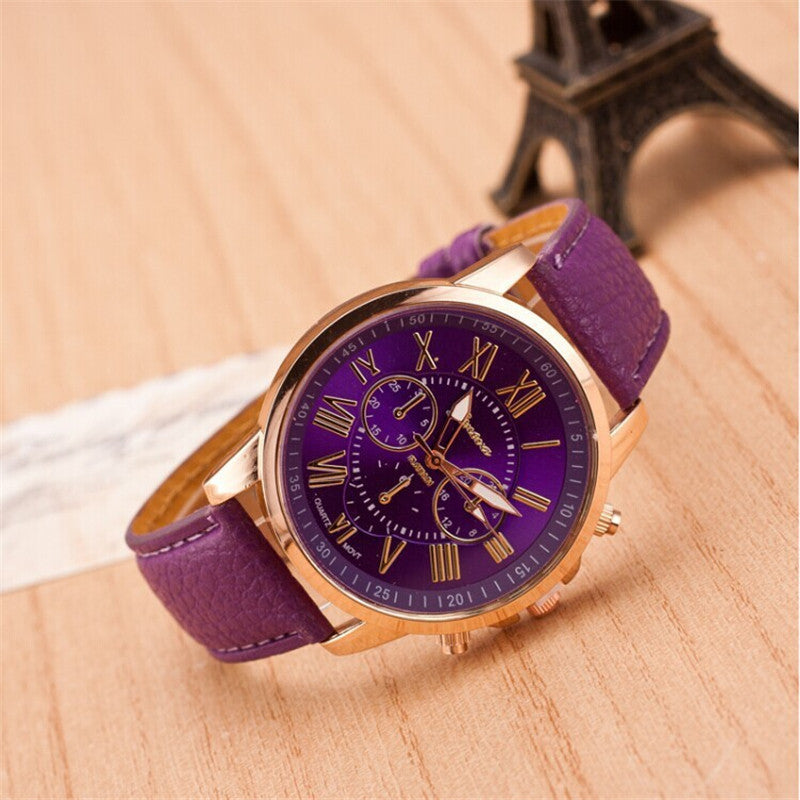 New Fashion Women Watch Geneva Rose Gold Roman Numerals Leather Quartz