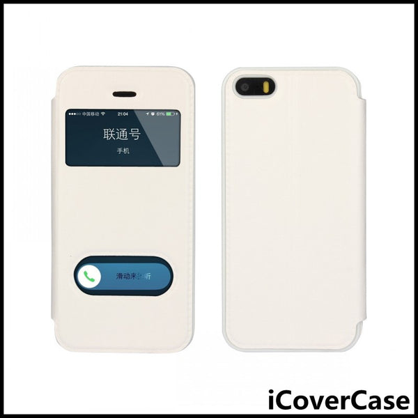 Coque for iPhone SE Cover Window View Case Flip Leather Fundas for iPhone 5 5s 6 6s Plus Huawei P8 Lite Nexus 6P Sony M4 Aqua