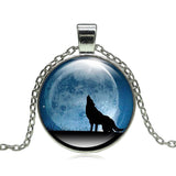 Fashion Wolf Moon Pendant Necklace Glass Cabochon Silver Statement Chain Necklace Women Jewelry