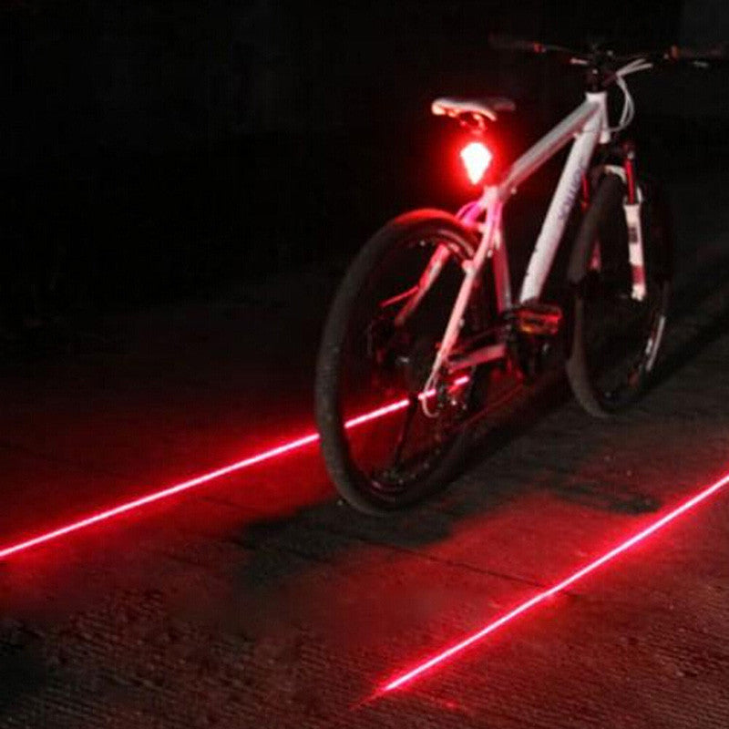 Bicycle LED Tail Light Safety Warning Light 5 LED+ 2 Laser Red Night