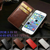 Case For IPHON 5 Vintage Wallet PU Leather Phone Cases for iPhone 5S Case iPhone SE 5SE 6S Plus Luxury Cover for iPhone 7 Case