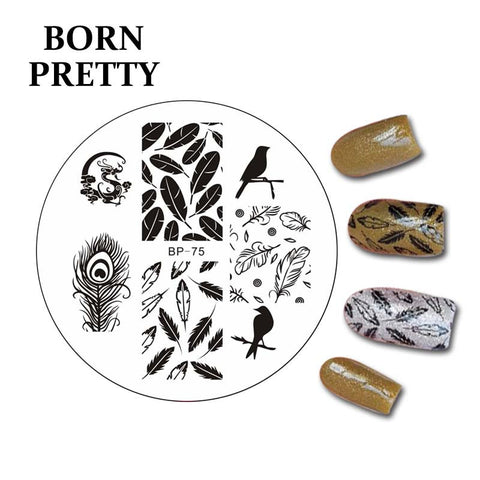 Birds Dragon Feather Nail Art Stamp Template Image Plate BORN PRETTY BP75 Stamping Plates for Nails