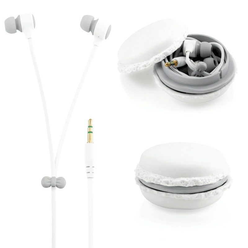 Macaroon Earphones 3.5mm in-ear earphone with macaroon case&Mic for
