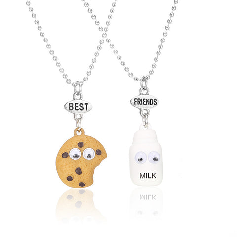 Best Friends BFF pendant bead chain necklace fastfood milk cookie biscuit kids jewelry lead nickel 2pcs/set