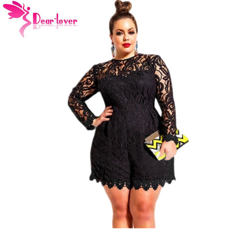 Dear Lover Black Plus Size Long Sleeve Lace Romper Overalls Playsuit Macacao Feminino For Women Shorts Oversize 5XL 4XL  LC60599