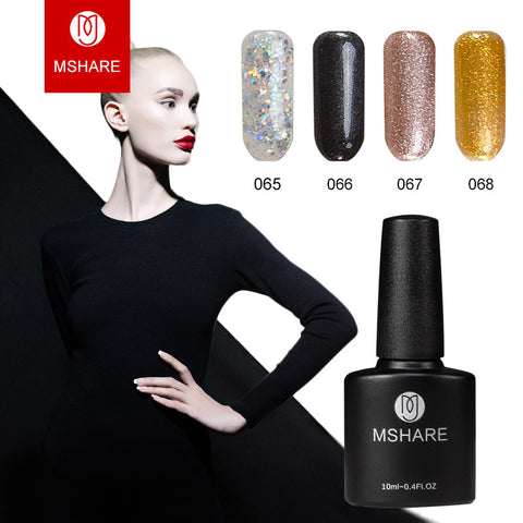 MSHARE high-end 10 ml of uv gel nail polish nail art gold silver glitter lasting Germany materials +
