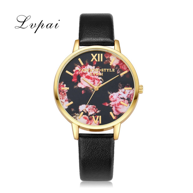 Lvpai Brand Luxury Silver Fashion Women Watches Flowers Leather