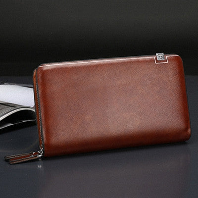 Business Men Wallet Long Designer Double Zipper Leather Male Purse