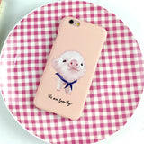 Cute Animal dog frosted Case For Iphone 5 5S 6 6S 6plus 6SPlus Phone cases Coque Cartoon pig and rabbit Hard plastic Capa Fundas