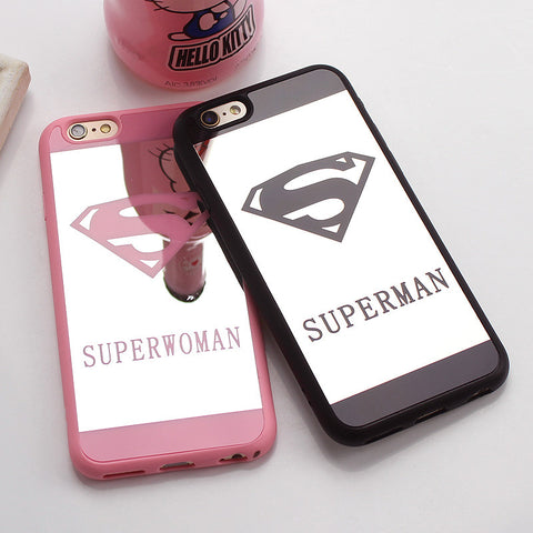 Luxury Superman Superwoman Mirror Surface TPU Case For iPhone 7 7 Plus 6s 6 Plus 5 5s SE Chrome Back Cover Cases Coque Fundas