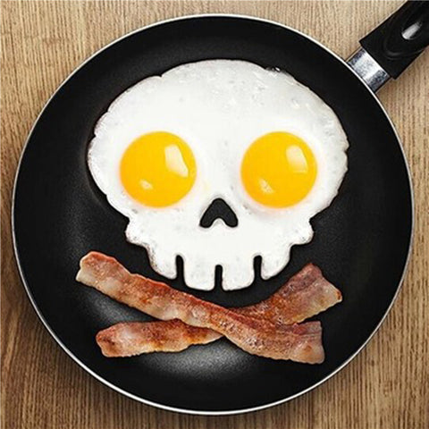 kitchen cooking tool unique design Silicone Rubber egg mold Non-stick Skull Eggs Fried Frying Mould Pancake Egg Ring Shaper Mold