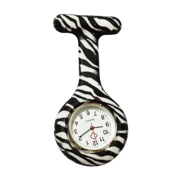 Excellent Quality Pocket Watches Silicone Zebra Stainless Clip Nurse Fob Watch Quartz Brooch Pendant Hot Doctor Paramedic