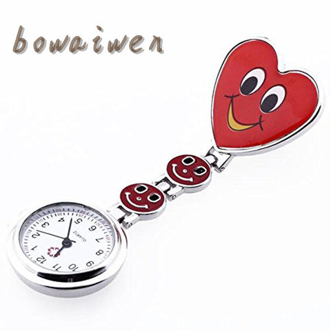 bowaiwen #0031 Fashion Red Heart Shape Quartz Movement Nurse Brooch Fob Tunic Pocket Watch