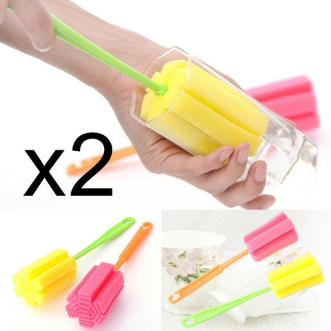 BornIsKing 2Pcs Cup Brush Kitchen Cleaning Tool Sponge Brush For Wineglass Bottle Coffe Tea Glass Cup Mug