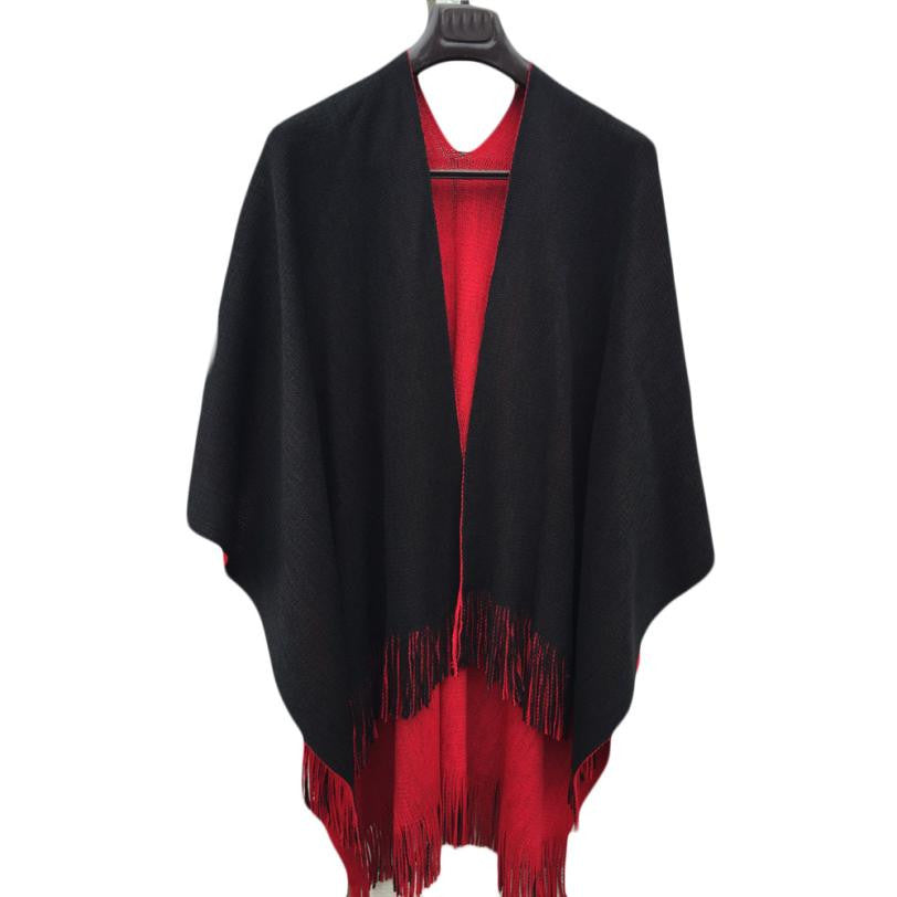 Casual Brand New Women Autumn Winter Knitted Cashmere Poncho Capes