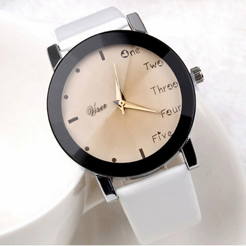 Hour Leisure Clock Letters Number Print Watches Women Ladies Watch