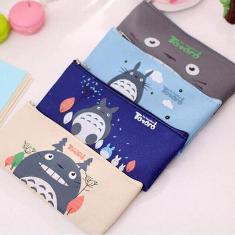 Cute Kawaii Fabric Pencil Case Lovely Cartoon Totoro Pen Bags For Kids
