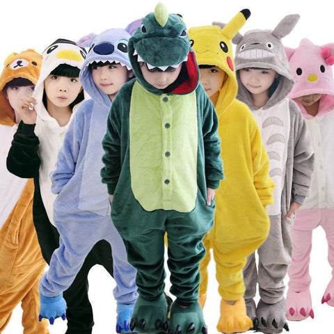 Children Unisex Stitch Tiger Totoro Onesie Kids Girls Boys Warm Soft Cosplay Animal Pajamas Home Sleepwear Halloween Costumes
