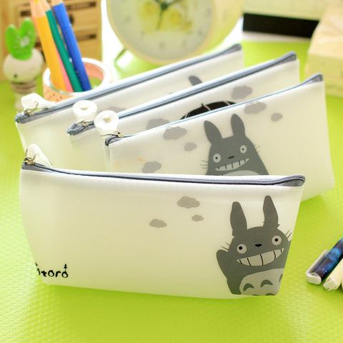 Cute Kawaii Cartoon Totoro Pencil Case Jelly Glue Japanese Anime Pen Bags For Kids Gift School Supplies 1115