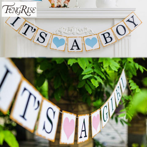 FENGRISE 3M Paper Baby Shower Banner Garlands Party Decoration Kids Its A Boy Girl Bunting Photo Booth Props Favors Supplies