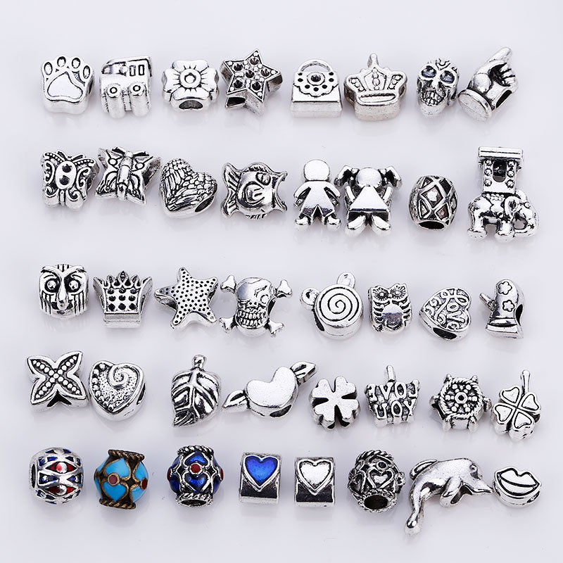 Big Hole Beads Fit Pandora Charms Antique Silver Metal Zinc Alloy