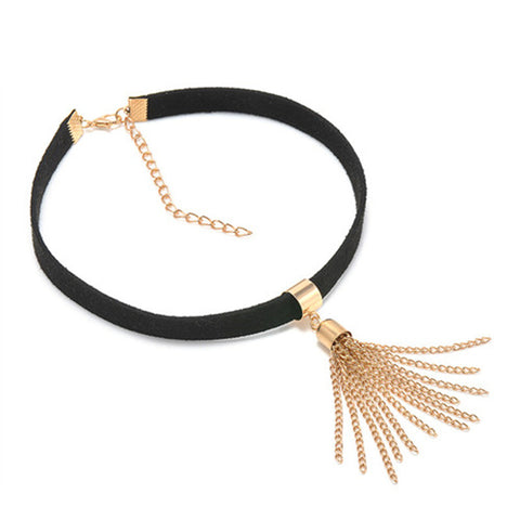 Harajuku Fashion Black Gold Tassel Choker Necklace Wrap Gold Plated Pendant Necklace For Women Girls