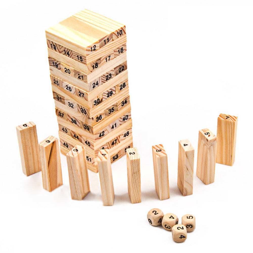 New Wooden Tower Wood Building Blocks Toy Domino 54 +4pcs Stacker