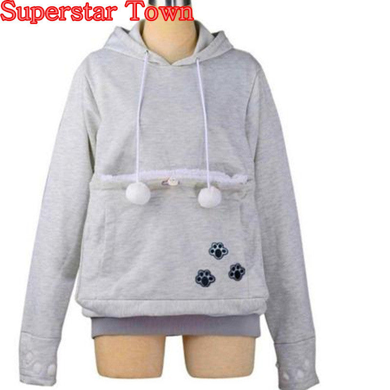 Cat Lovers Hoodies With Cuddle Pouch  Dog Pet Hoodies For Casual