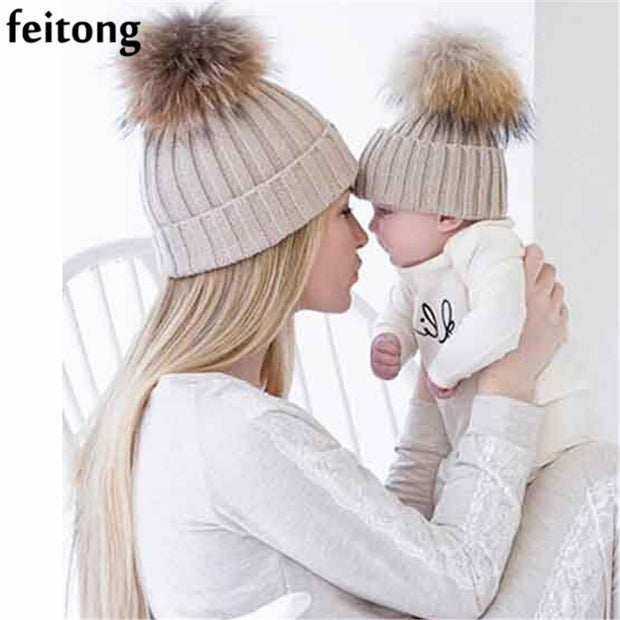 Feitong 2Pcs Mom And Baby Hats Fashion Winter Hat Crochet Knitting