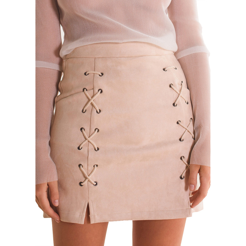 Autumn Winter A-line High Waist Suede Leather Skirt Women Solid Lace