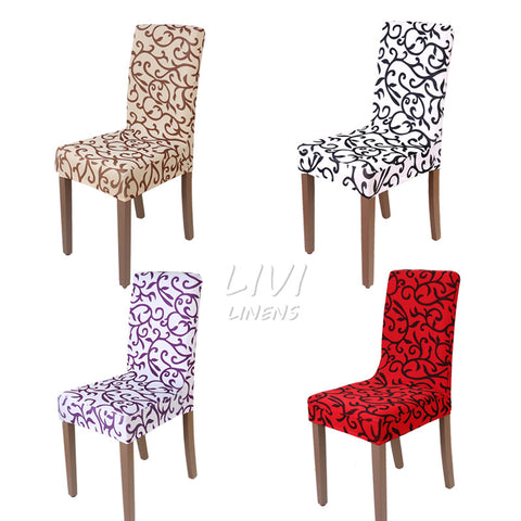 Flower Printing Spandex Stretch Dining Chair Cover Restaurant For Weddings Banquet Folding Hotel Chair Covering