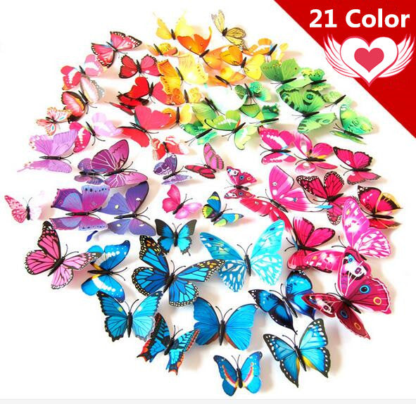 Free shipping 12pcs Art Design 3D Butterfly wedding decor Decal Wall
