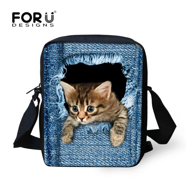 FORUDESIGNS Hot Women Messenger Bags Cute Animal Denim Pet Cat Dog