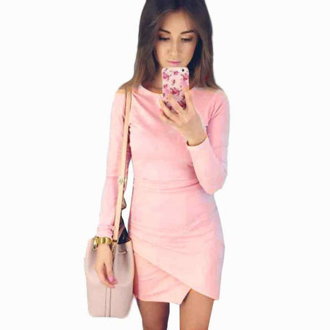 Fashion Womens Irregular Long Sleeve Bodycon Shoulder Mini Dress Ladies Party Evening Women Dresses vestidos