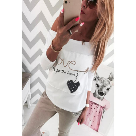 Fashion High Quality Womens T-Shirt Love Letter Print O-Neck Casual Long Sleeve Blouse Tops White #LSN